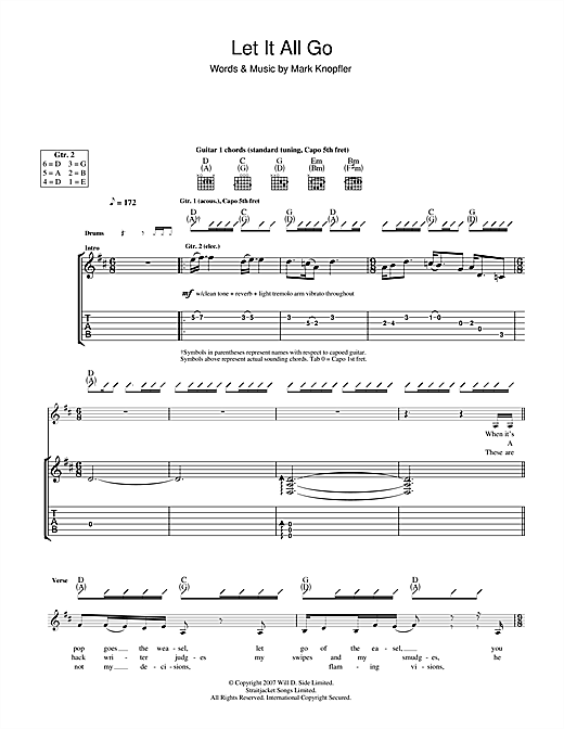 Mark Knopfler Let It All Go sheet music notes and chords. Download Printable PDF.