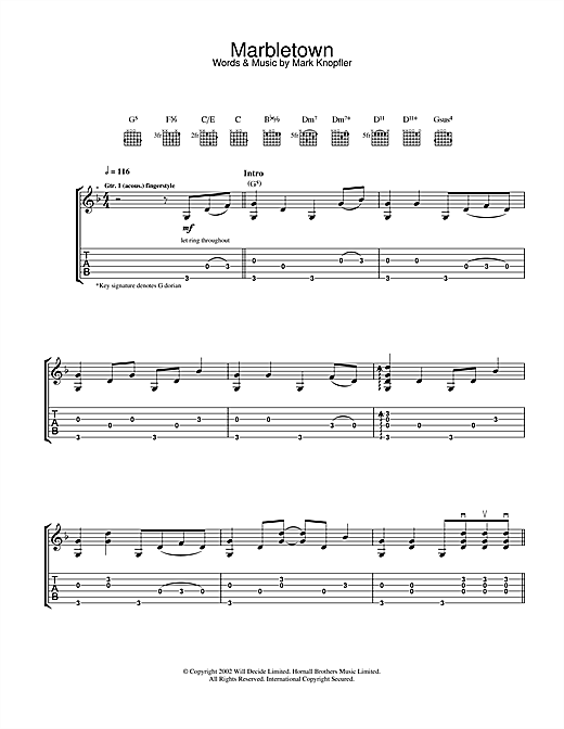 Mark Knopfler Marbletown sheet music notes and chords. Download Printable PDF.