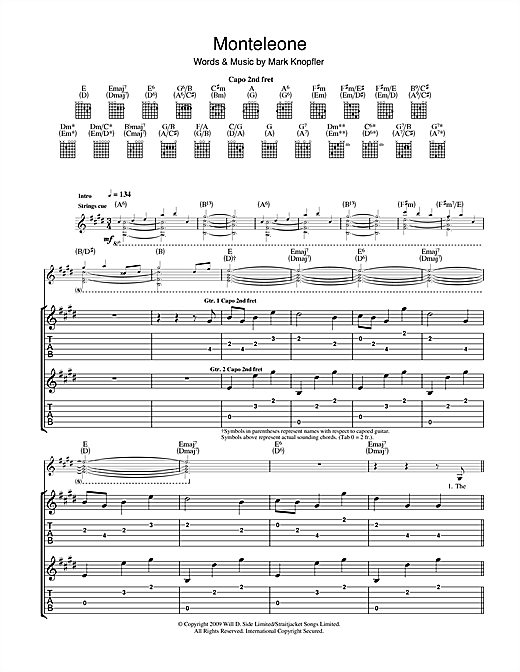Mark Knopfler Monteleone sheet music notes and chords. Download Printable PDF.