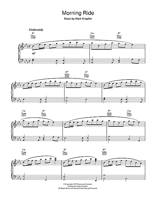 Mark Knopfler Morning Ride (from The Princess Bride) sheet music notes and chords. Download Printable PDF.