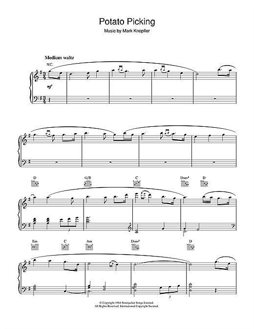 Mark Knopfler Potato Picking (from Cal) sheet music notes and chords. Download Printable PDF.