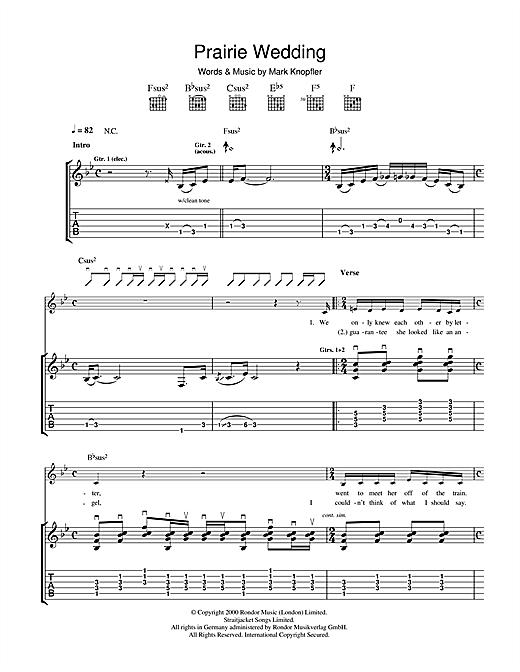 Mark Knopfler Prairie Wedding sheet music notes and chords. Download Printable PDF.