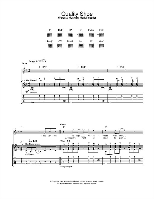 Mark Knopfler Quality Shoe sheet music notes and chords. Download Printable PDF.