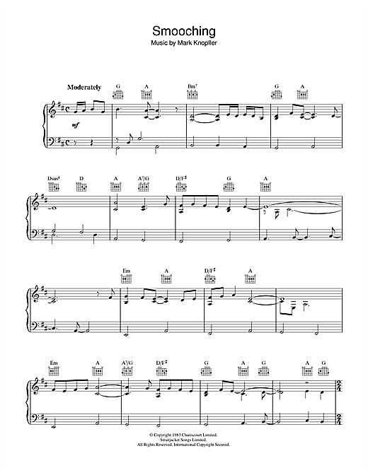Mark Knopfler Smooching (from Local Hero) sheet music notes and chords. Download Printable PDF.