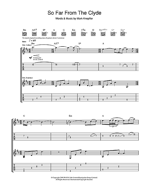 Mark Knopfler So Far From The Clyde sheet music notes and chords. Download Printable PDF.