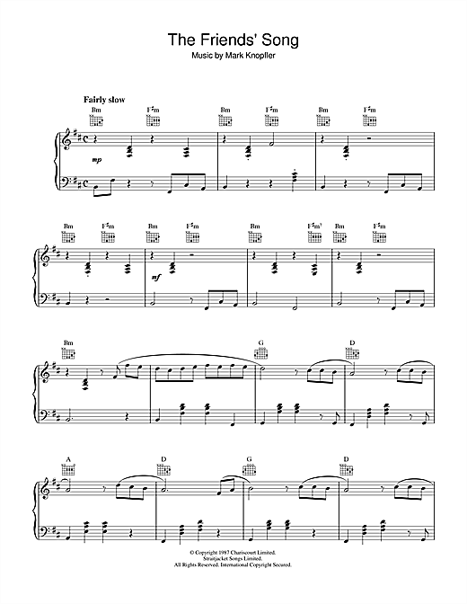 Mark Knopfler The Friends' Song (from The Princess Bride) sheet music notes and chords. Download Printable PDF.