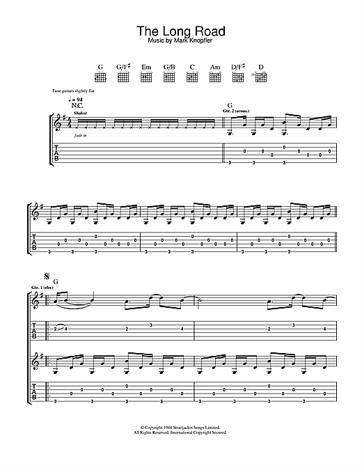 Mark Knopfler The Long Road (from Cal) sheet music notes and chords. Download Printable PDF.