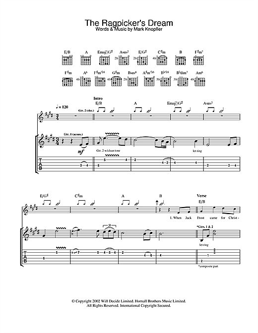 Mark Knopfler The Ragpicker's Dream sheet music notes and chords. Download Printable PDF.