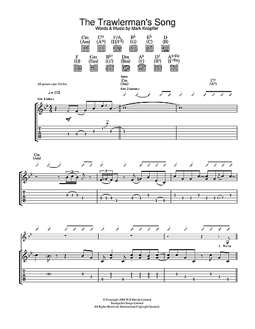 Mark Knopfler The Trawlerman's Song sheet music notes and chords. Download Printable PDF.