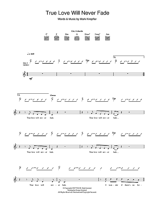 Mark Knopfler True Love Will Never Fade sheet music notes and chords. Download Printable PDF.