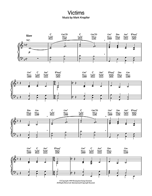 Mark Knopfler Victims (from Last Exit To Brooklyn) sheet music notes and chords. Download Printable PDF.
