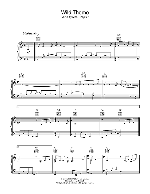 Mark Knopfler Wild Theme (from Local Hero) sheet music notes and chords