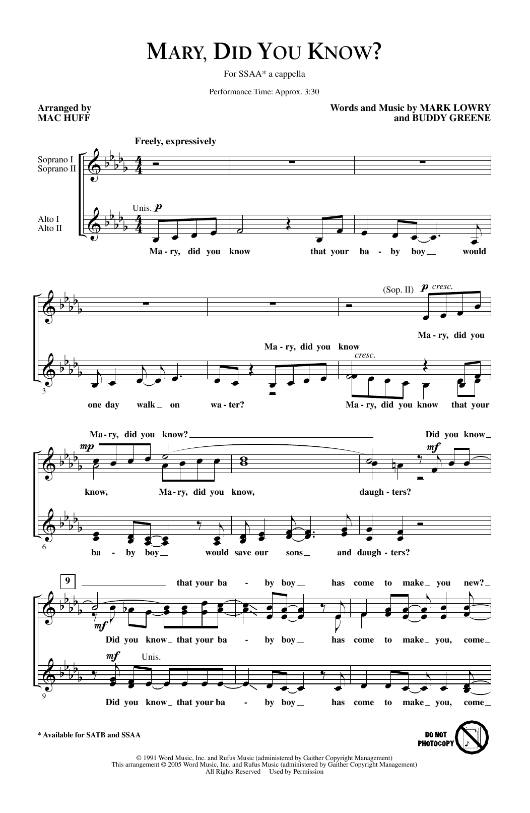 Mark Lowry Mary, Did You Know? (arr. Mac Huff) sheet music notes and chords. Download Printable PDF.