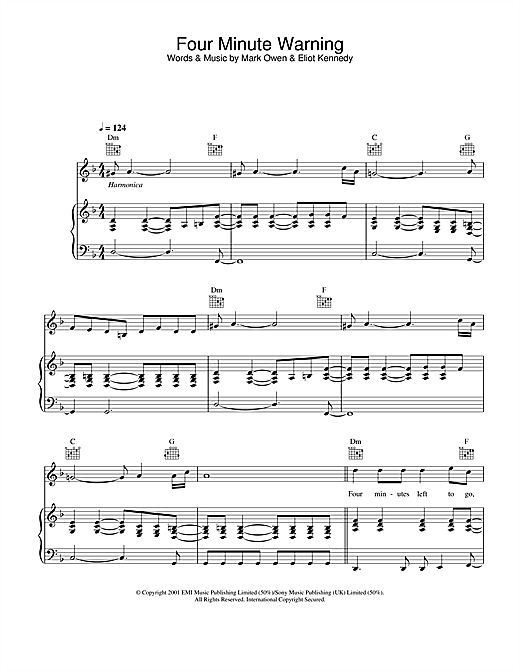Mark Owen Four Minute Warning sheet music notes and chords. Download Printable PDF.