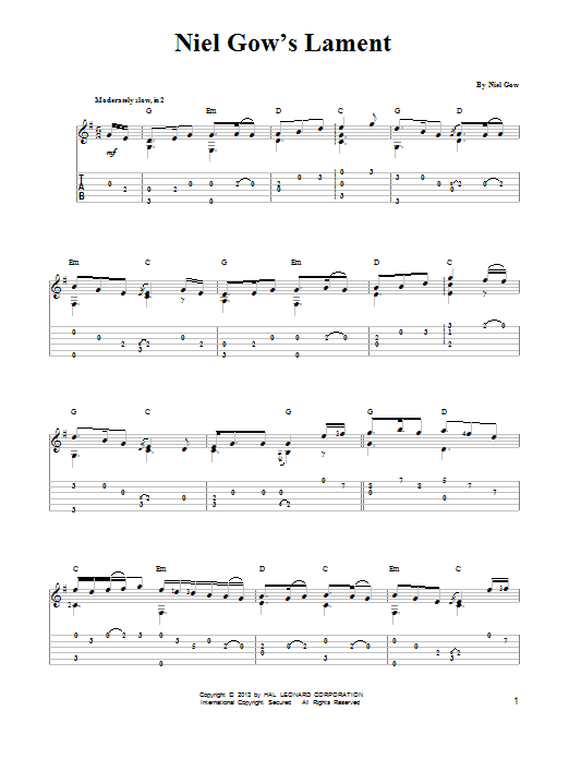 Niel Gow Niel Gow's Lament sheet music notes and chords. Download Printable PDF.