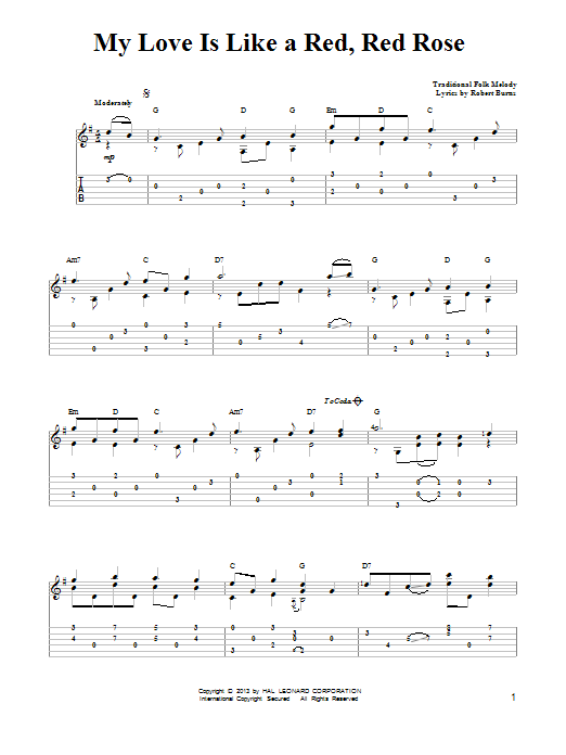 Traditional O My Love Is Like A Red, Red Rose sheet music notes and chords. Download Printable PDF.