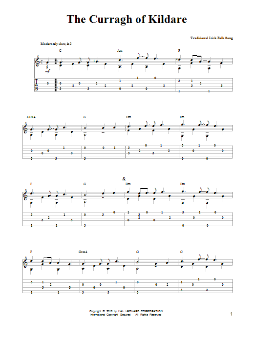 Irish Folksong The Curragh Of Kildare sheet music notes and chords. Download Printable PDF.