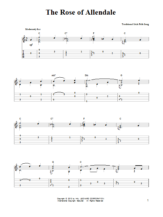 Irish Folksong The Rose Of Allendale sheet music notes and chords. Download Printable PDF.