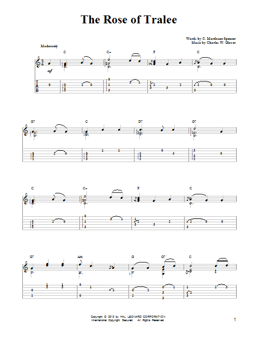 Charles W. Glover The Rose Of Tralee sheet music notes and chords. Download Printable PDF.