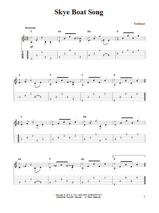 Traditional The Skye Boat Song sheet music notes and chords. Download Printable PDF.