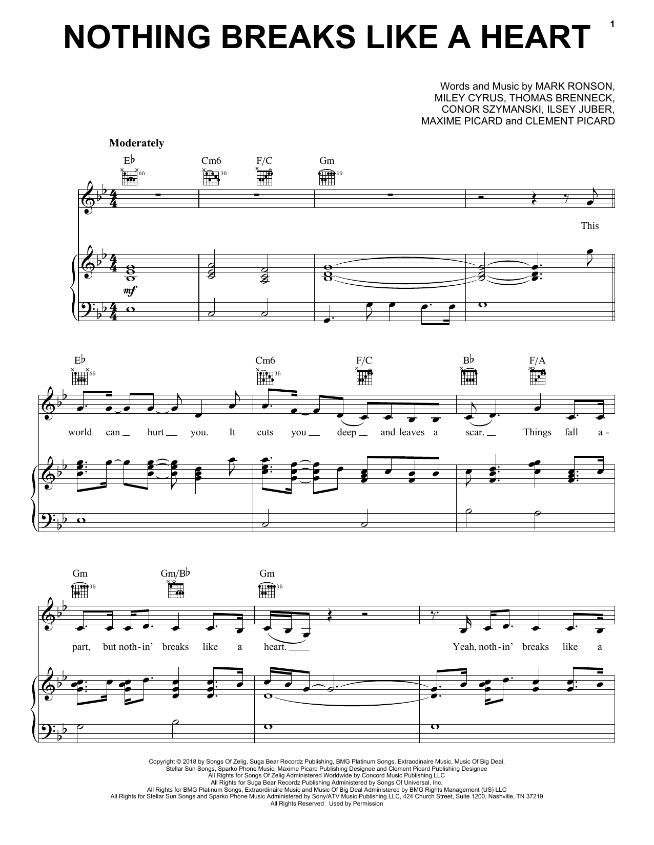 Mark Ronson Nothing Breaks Like A Heart (feat. Miley Cyrus) sheet music notes and chords