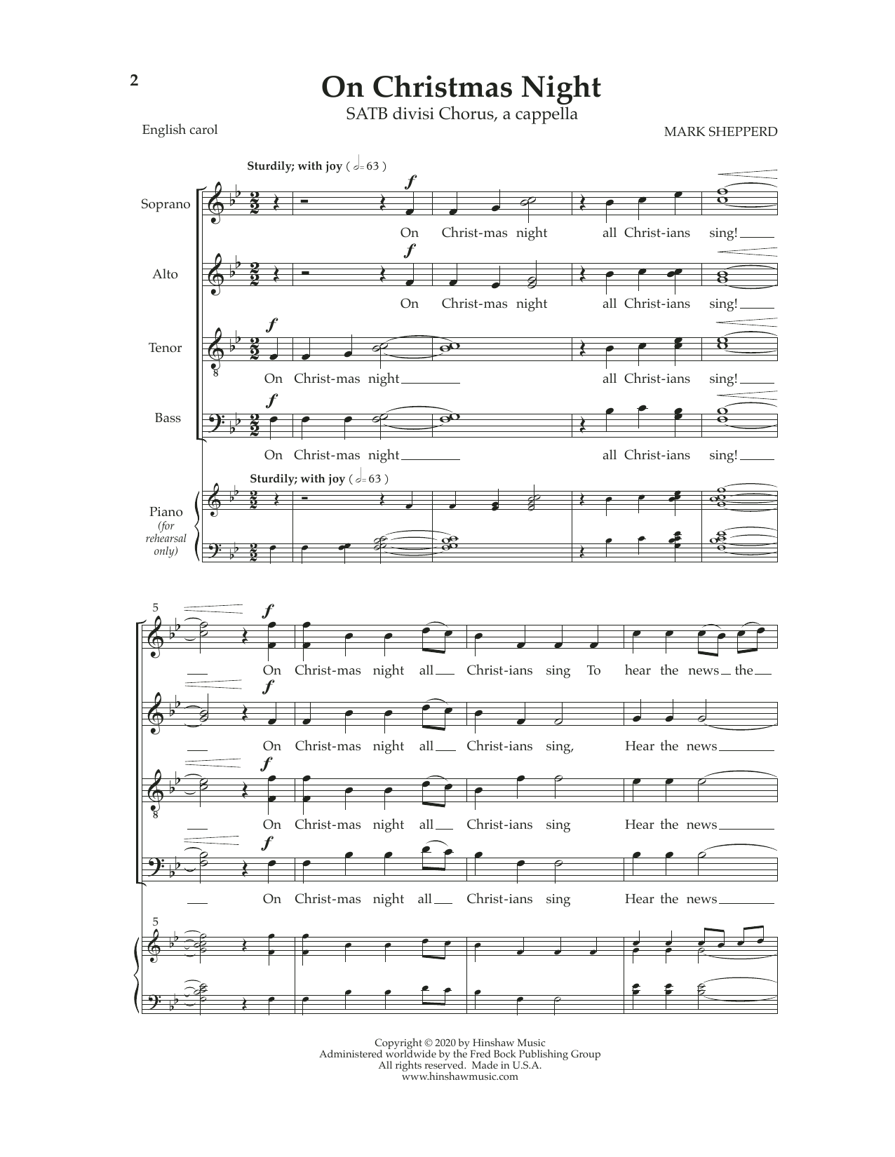 Mark Shepperd On Christmas Night sheet music notes and chords. Download Printable PDF.