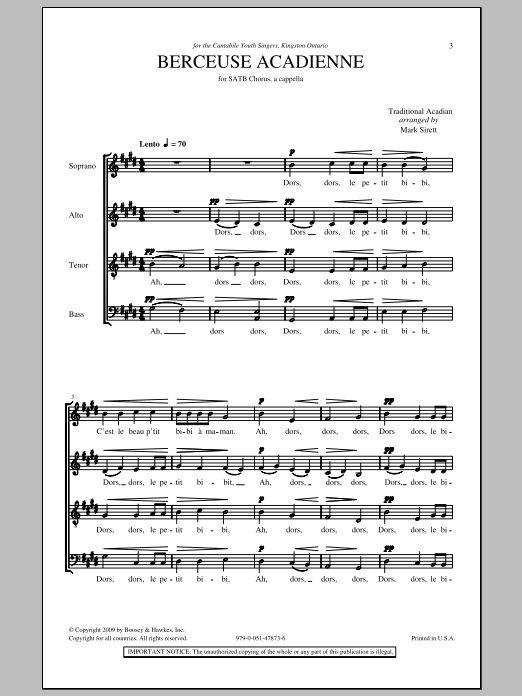 Mark Sirett Berceuse Acadienne sheet music notes and chords