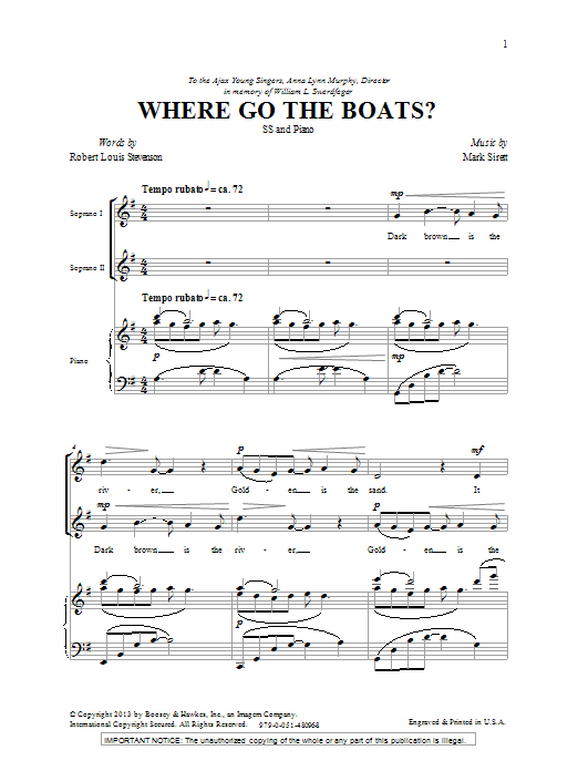 Mark Sirett Where Go The Boats sheet music notes and chords. Download Printable PDF.
