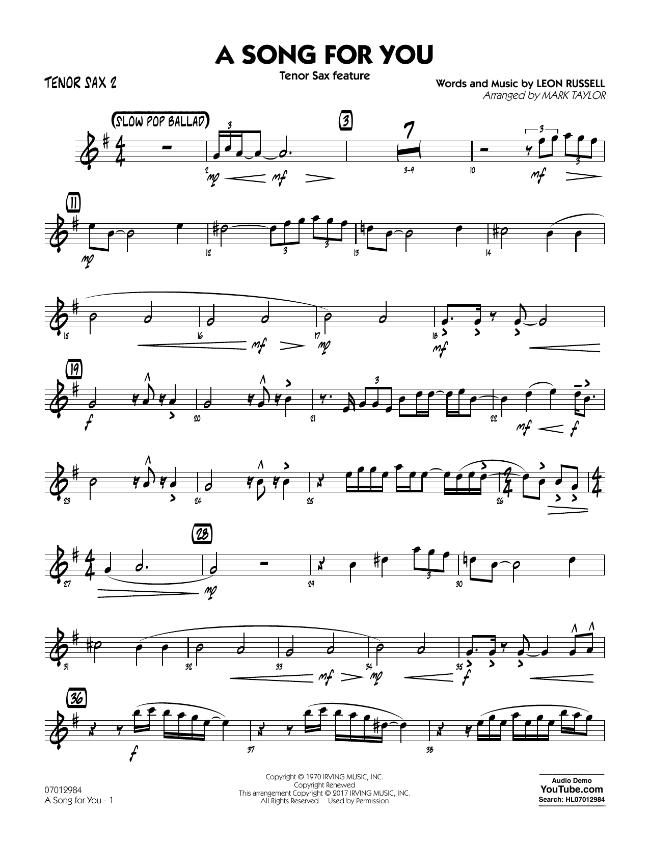 Mark Taylor A Song for You (Tenor Sax Feature) - Tenor Sax 2 sheet music notes and chords. Download Printable PDF.