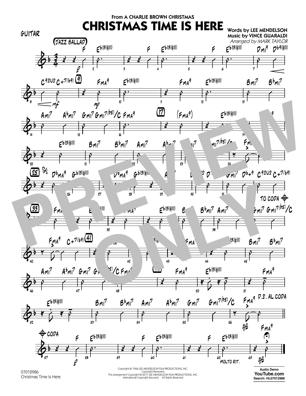Mark Taylor Christmas Time Is Here   Guitar Sheet Music Notes, Chords    Download Printable Jazz Ensemble PDF Score   SKU 15