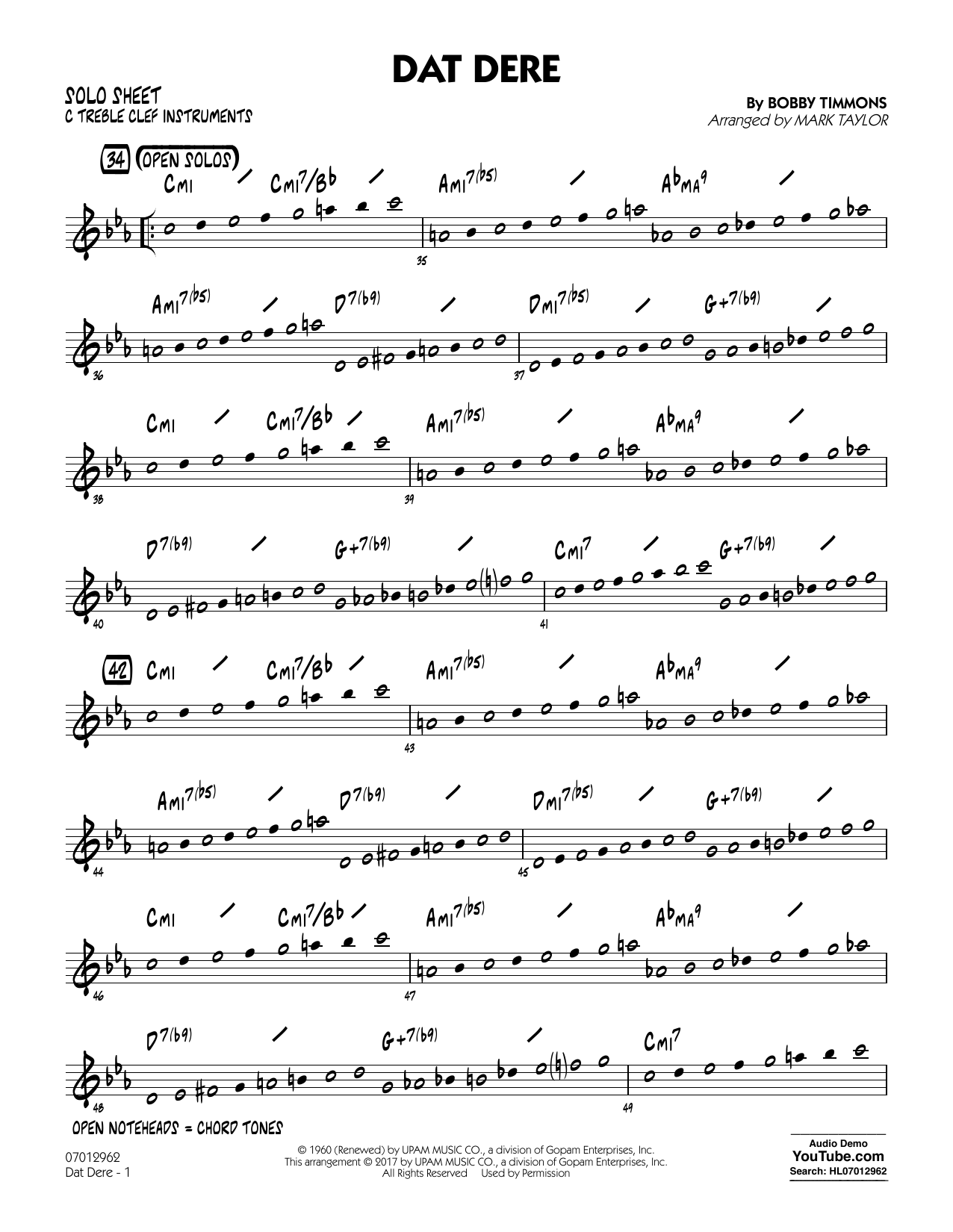 Mark Taylor Dat Dere - C Solo Sheet sheet music notes and chords. Download Printable PDF.