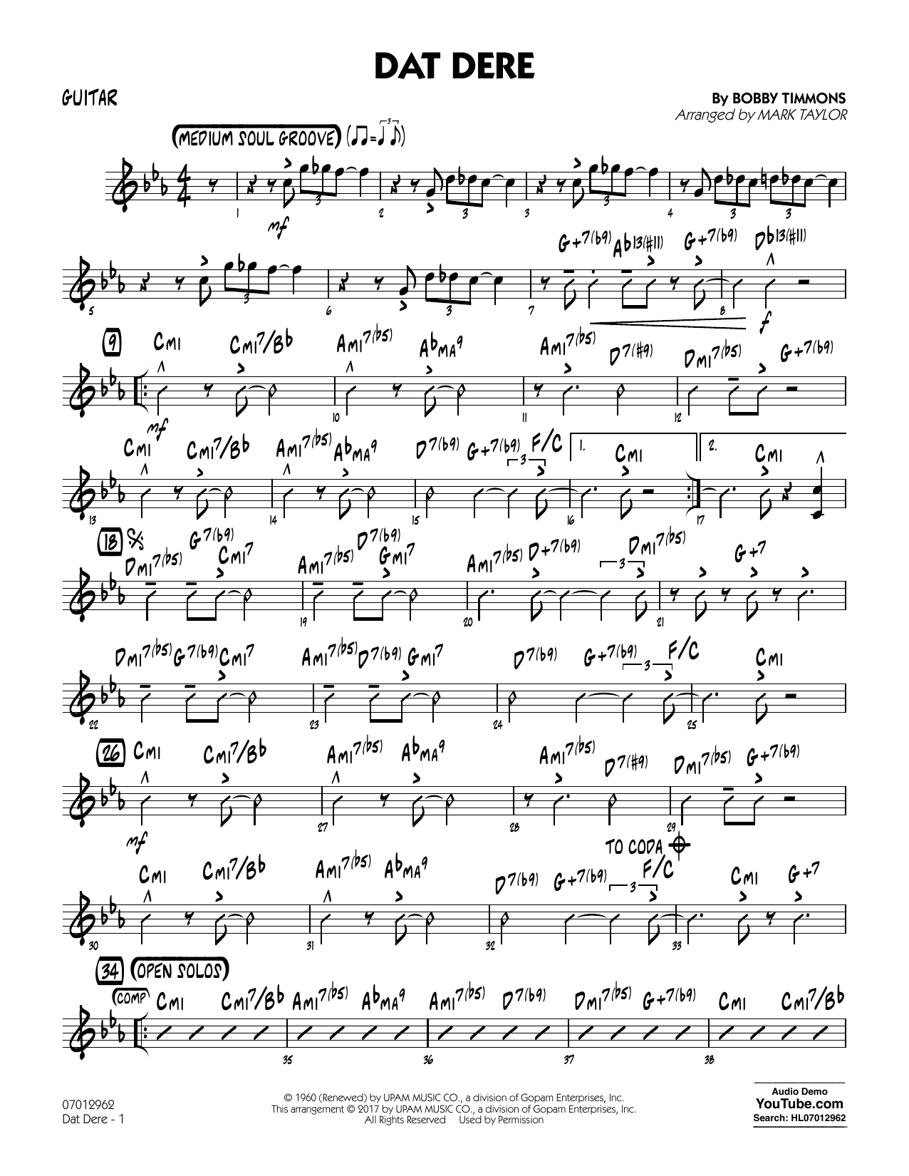 Mark Taylor Dat Dere - Guitar sheet music notes and chords. Download Printable PDF.