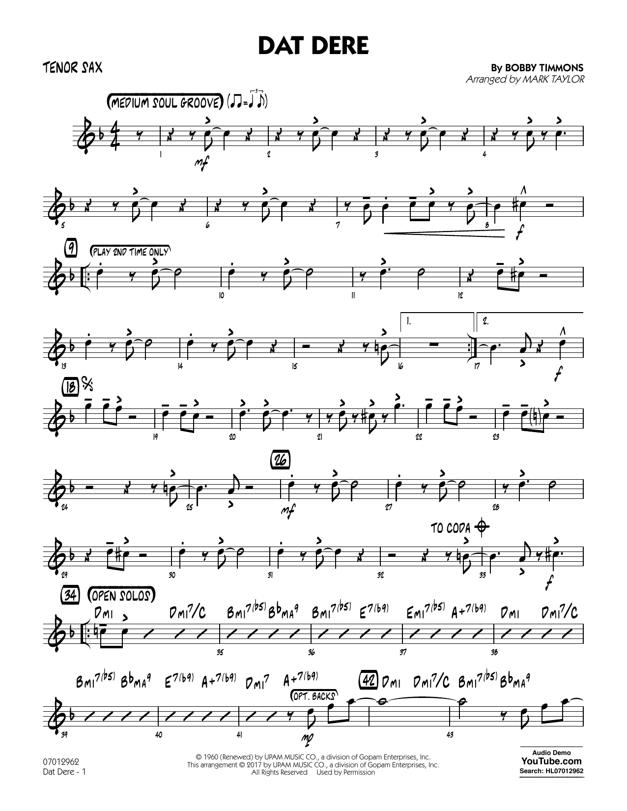 Mark Taylor Dat Dere - Tenor Sax sheet music notes and chords. Download Printable PDF.