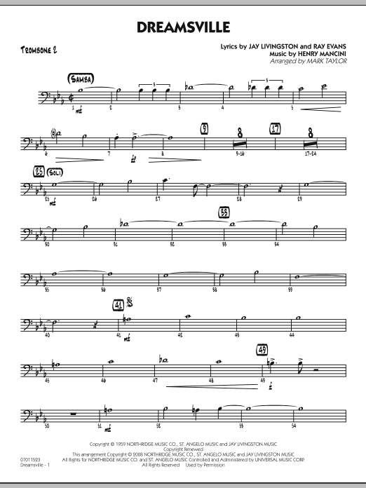 Mark Taylor Dreamsville - Trombone 2 sheet music notes and chords. Download Printable PDF.