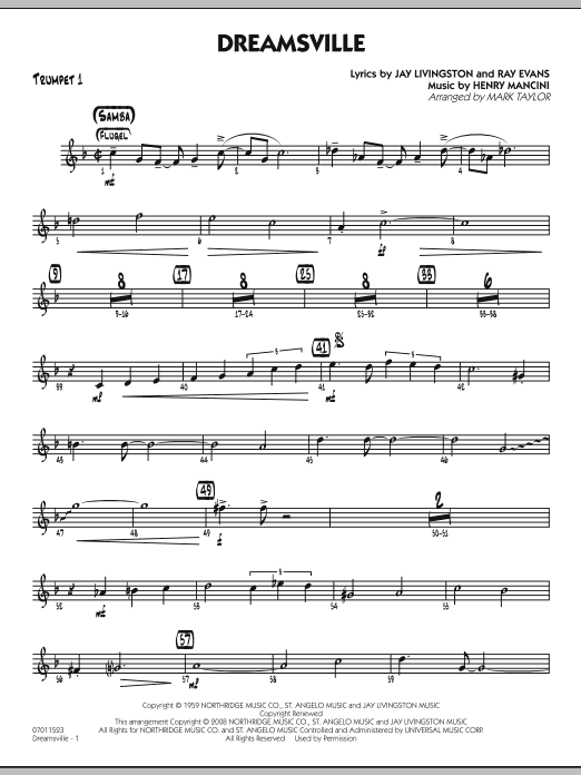 Mark Taylor Dreamsville - Trumpet 1 sheet music notes and chords