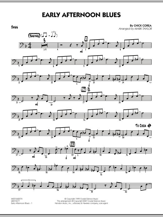 Mark Taylor Early Afternoon Blues - Bass sheet music notes and chords. Download Printable PDF.