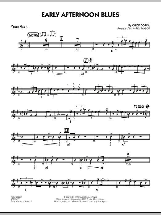 Mark Taylor Early Afternoon Blues - Tenor Sax 1 sheet music notes and chords. Download Printable PDF.