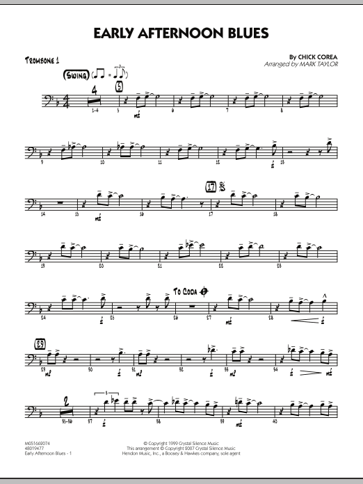 Mark Taylor Early Afternoon Blues - Trombone 1 sheet music notes and chords. Download Printable PDF.