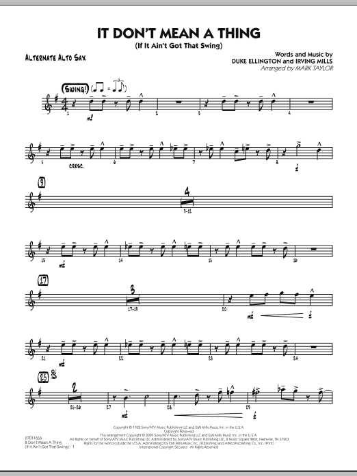 Mark Taylor It Don't Mean a Thing (If It Ain't Got That Swing) - Alternate Alto Sax sheet music notes and chords. Download Printable PDF.