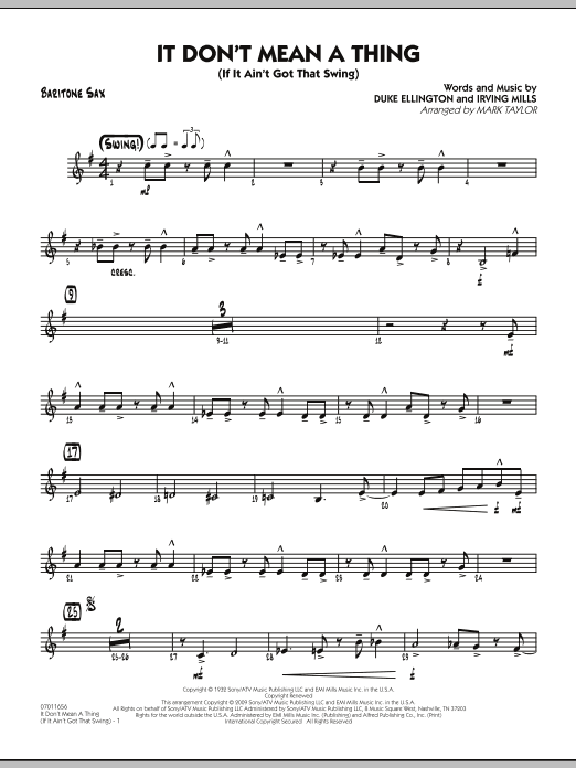 Mark Taylor It Don't Mean a Thing (If It Ain't Got That Swing) - Baritone Sax sheet music notes and chords. Download Printable PDF.
