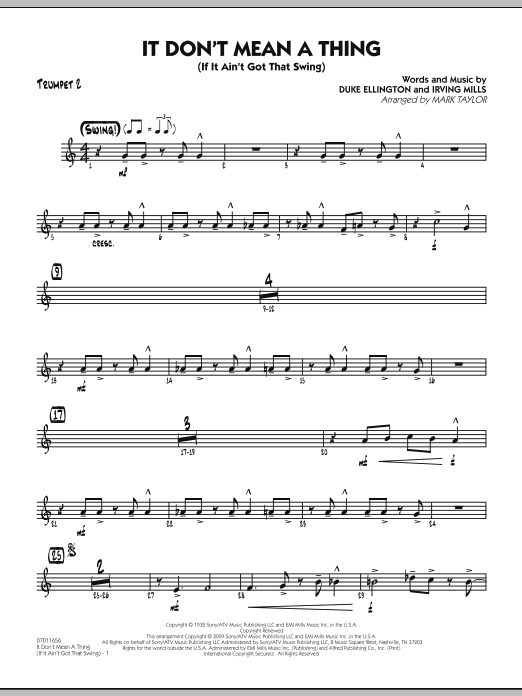 Mark Taylor It Don't Mean a Thing (If It Ain't Got That Swing) - Trumpet 2 sheet music notes and chords. Download Printable PDF.
