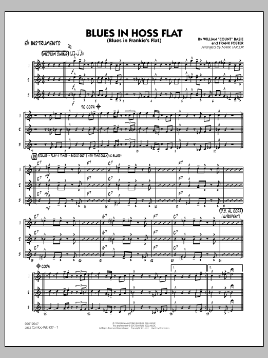 Mark Taylor Jazz Combo Pak #37 (Count Basie) - Eb Instruments sheet music notes and chords. Download Printable PDF.