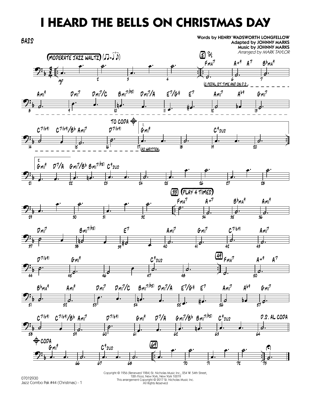 Mark Taylor Jazz Combo Pak #44 (Christmas) - Bass sheet music notes and chords. Download Printable PDF.