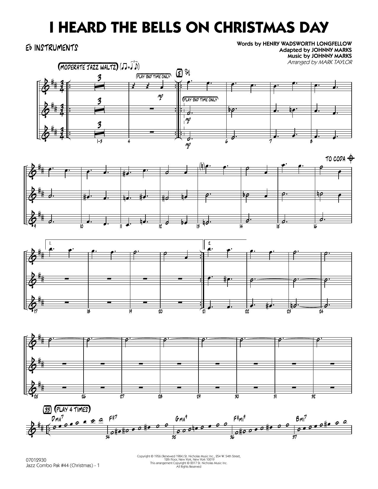 Mark Taylor Jazz Combo Pak #44 (Christmas) - Eb Instruments sheet music notes and chords. Download Printable PDF.