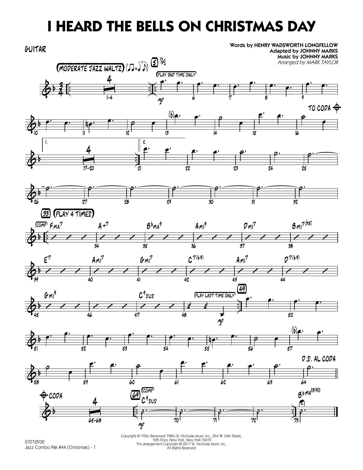 Mark Taylor Jazz Combo Pak #44 (Christmas) - Guitar sheet music notes and chords. Download Printable PDF.