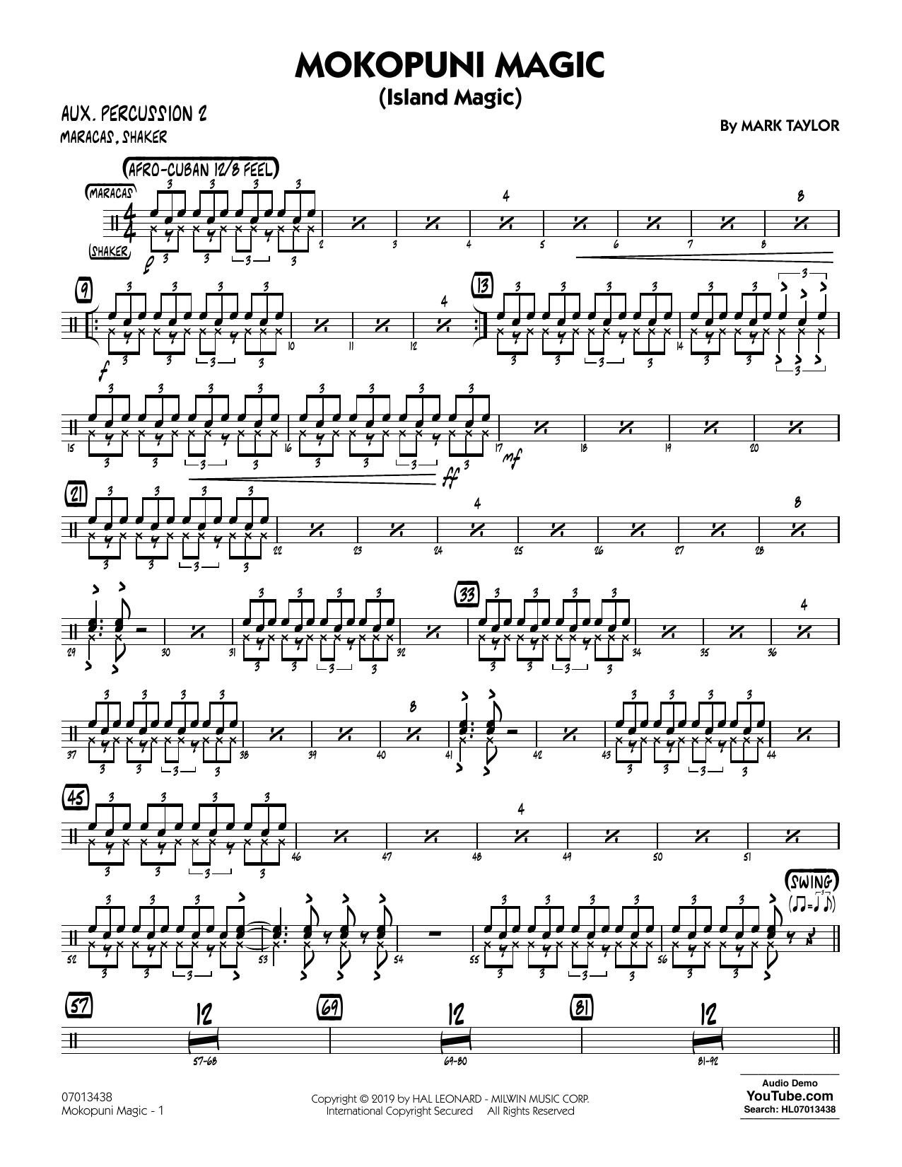 Mark Taylor Mokopuni Magic (Island Magic) - Aux. Percussion 2 sheet music notes and chords. Download Printable PDF.
