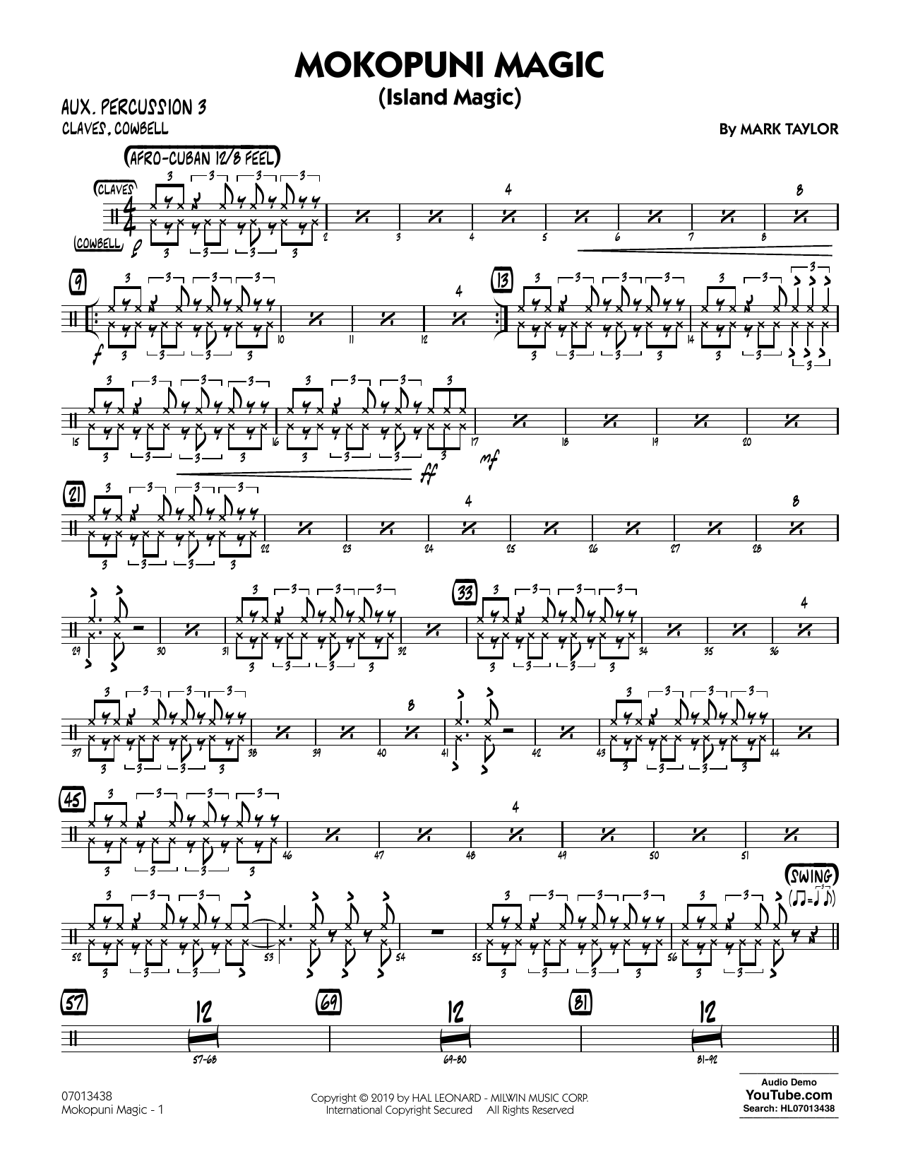 Mark Taylor Mokopuni Magic (Island Magic) - Aux. Percussion 3 sheet music notes and chords. Download Printable PDF.