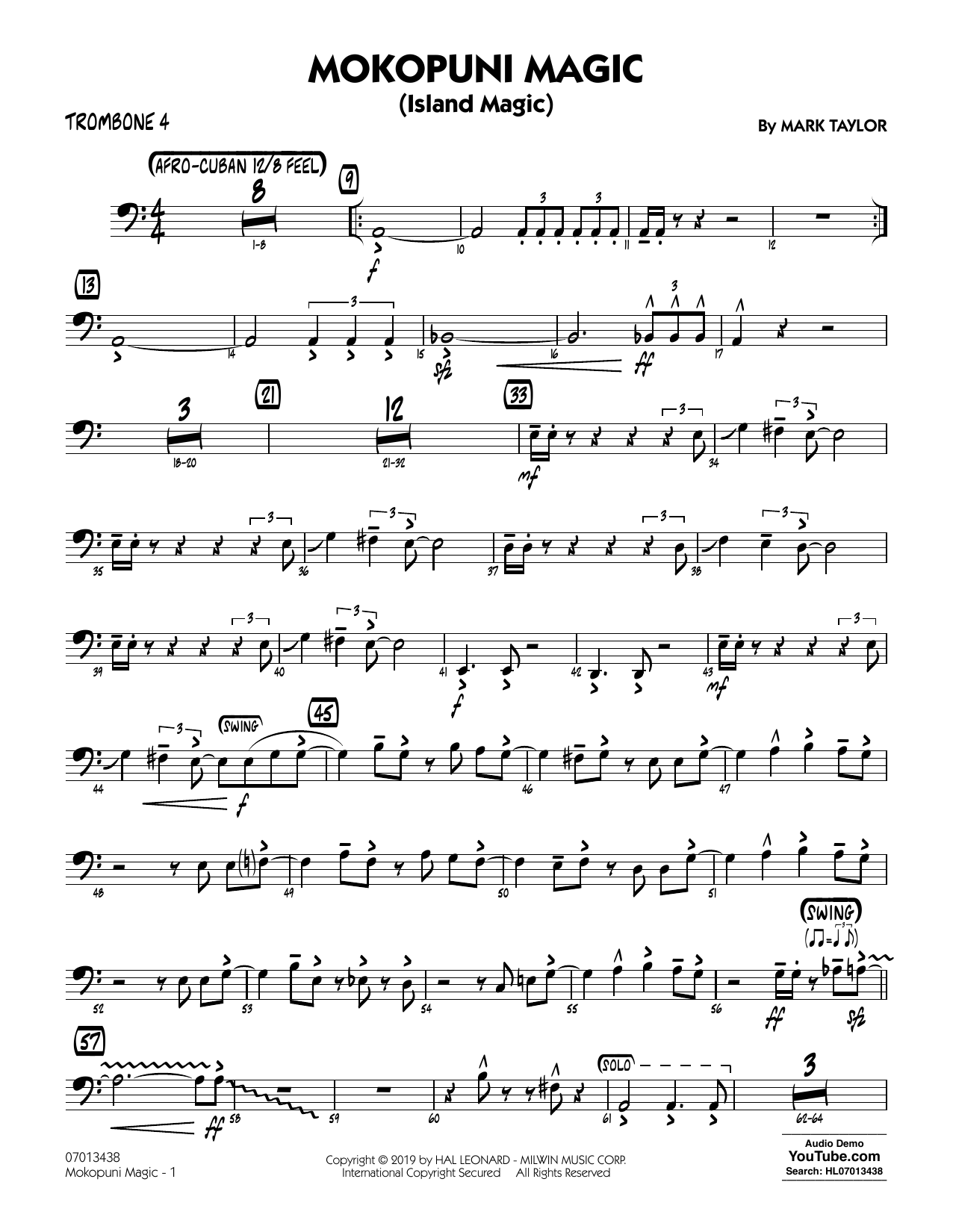 Mark Taylor Mokopuni Magic (Island Magic) - Trombone 4 sheet music notes and chords. Download Printable PDF.