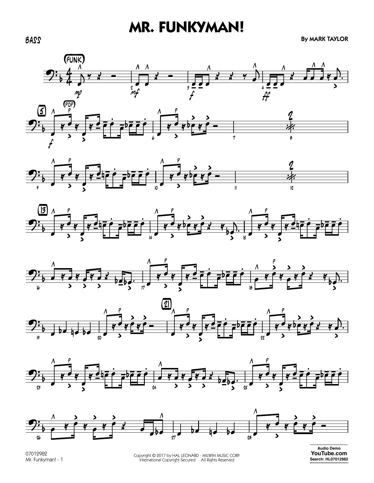 Mark Taylor Mr. Funkyman! - Bass sheet music notes and chords. Download Printable PDF.