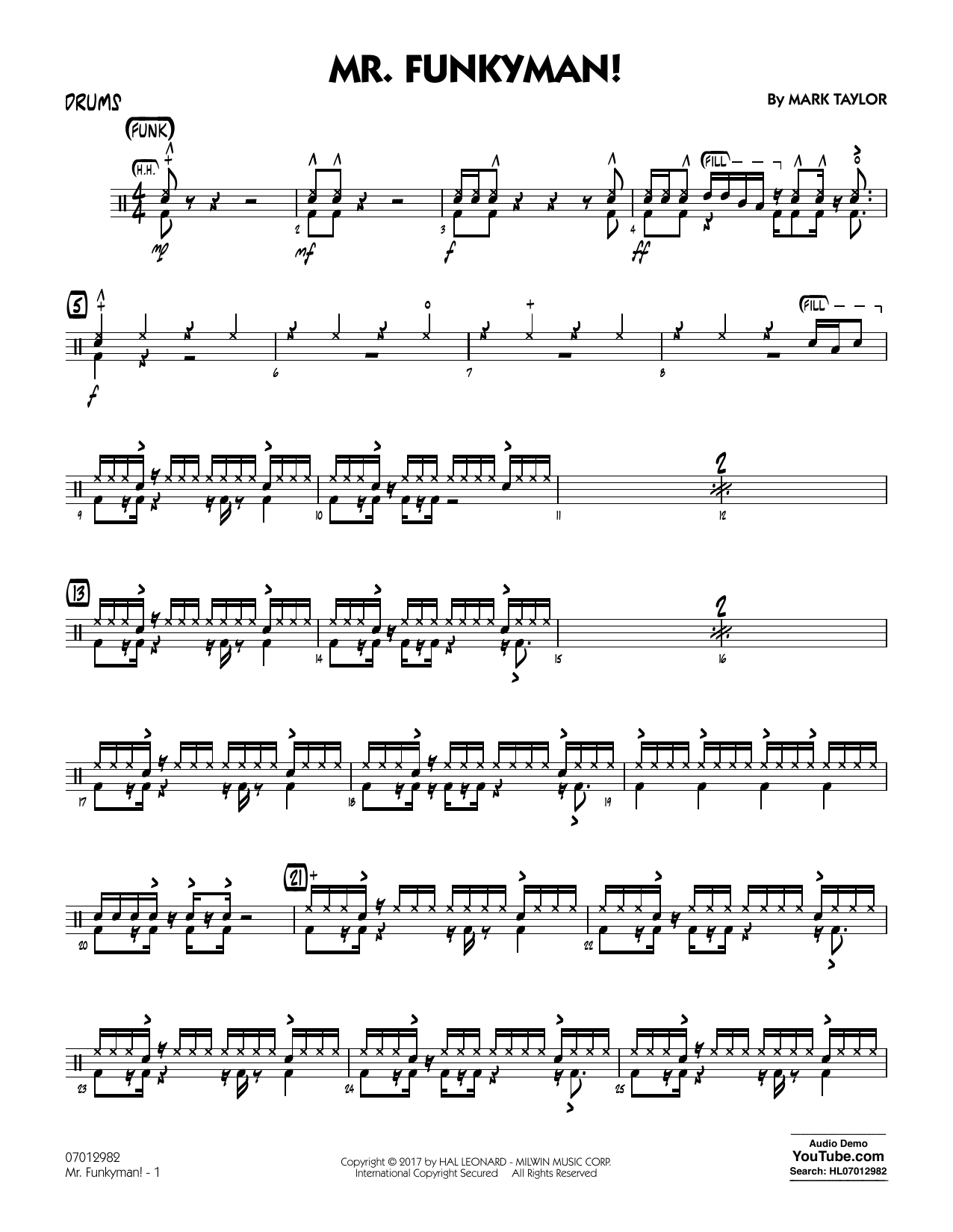 Mark Taylor Mr. Funkyman! - Drums sheet music notes and chords. Download Printable PDF.